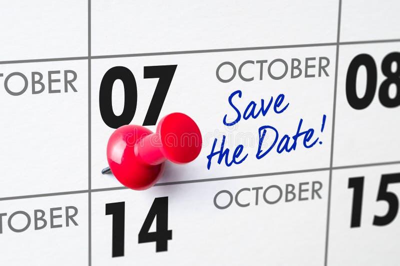 October 07. Wall calendar with a red pin - October 07 stock photos