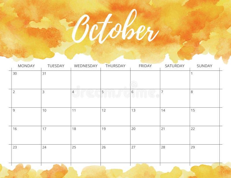 October watercolor calendar. stock image