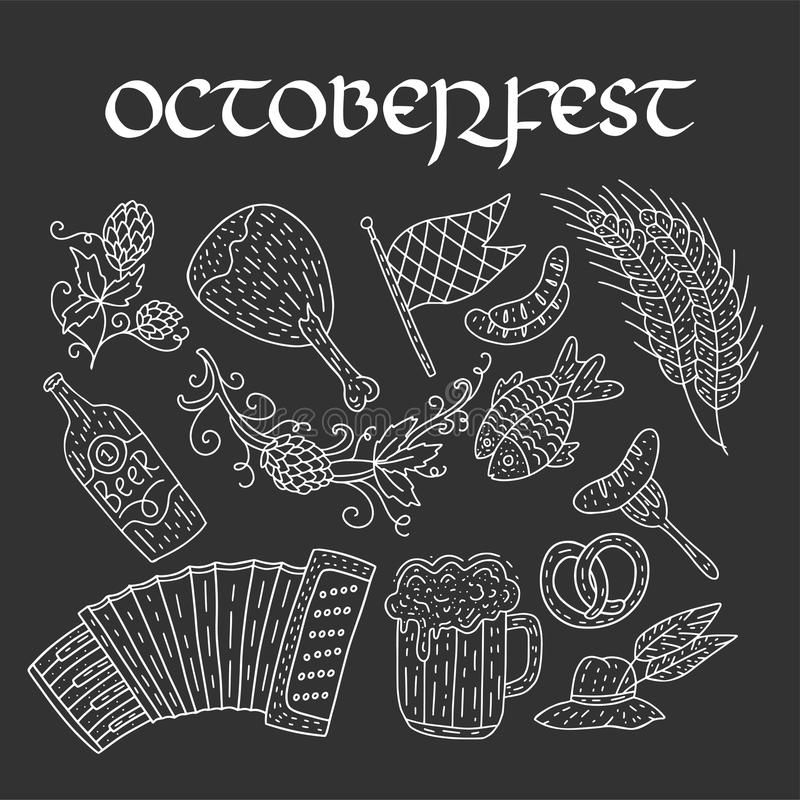Octoberfest啤酒节日乱画手拉的集合 也corel凹道例证向量 Octoberfest颜色节日象 库存例证