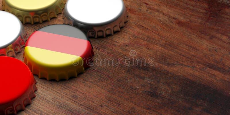 Octoberfest,德国 有德国旗子的啤酒盖帽在木背景,拷贝空间 3d例证 库存图片