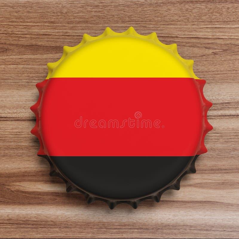 Octoberfest,德国 有德国旗子的啤酒盖帽在木背景,顶视图 3d例证 免版税库存图片