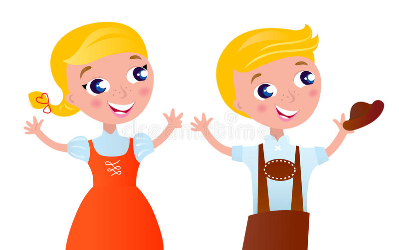 Octoberfest bavarian boy and girl. vector illustration