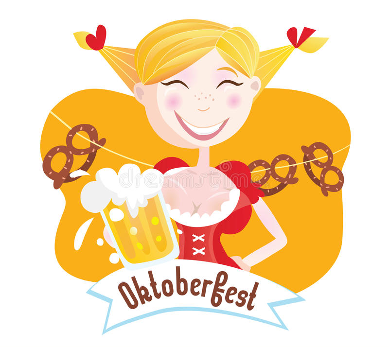 Octoberfest (Bavarian woman) vector illustration