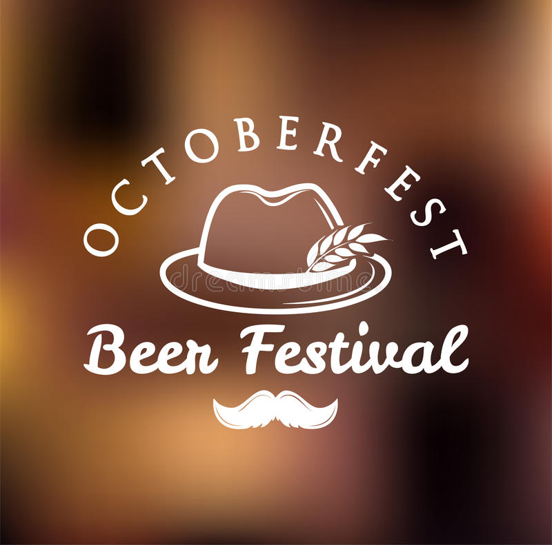 Octoberfest best festival. Vector illustration. German Hat with Feather, Moustache and Wheat. stock illustration