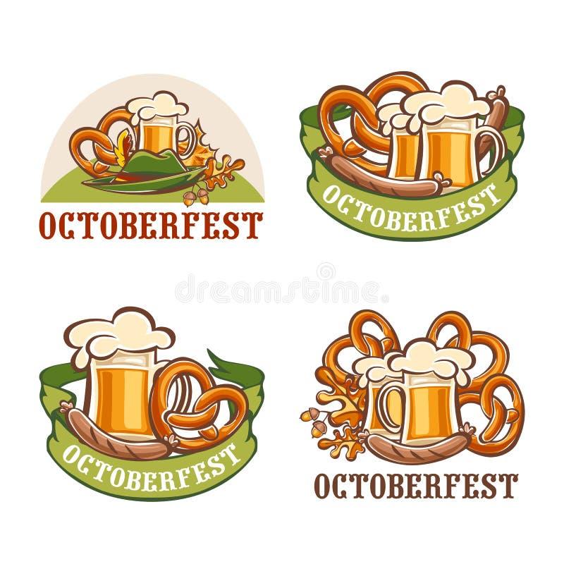 Octoberfest-Bierlogo-Ikonensatz, Karikaturart lizenzfreie abbildung