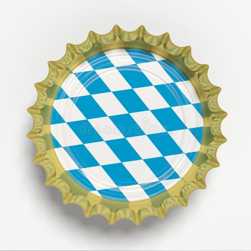 Octoberfest, chapeau de bière avec le drapeau de la Bavière d'isolement sur le fond blanc, vue supérieure illustration 3D illustration libre de droits