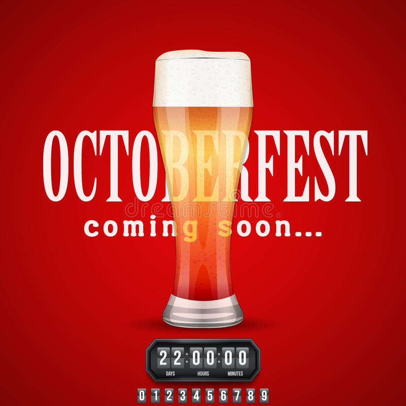 Octoberfest Coming soon poster. Beer glass and counter. Vector Illustration royalty free illustration