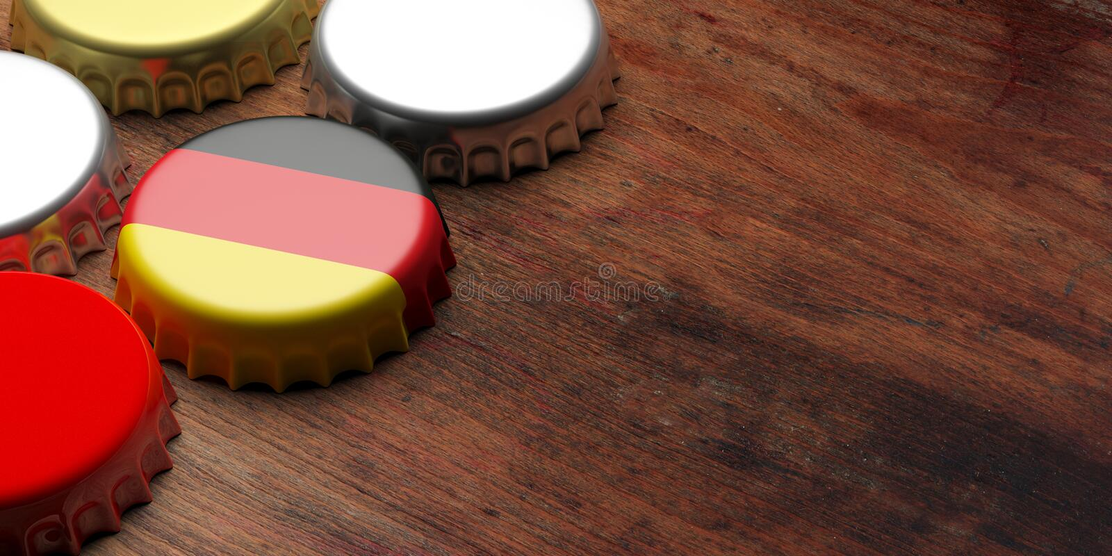 Octoberfest, Germany. Beer cap with German flag on wooden background, copy space. 3d illustration. Octoberfest, Beer festival, Germany. Beer cap with German flag stock image