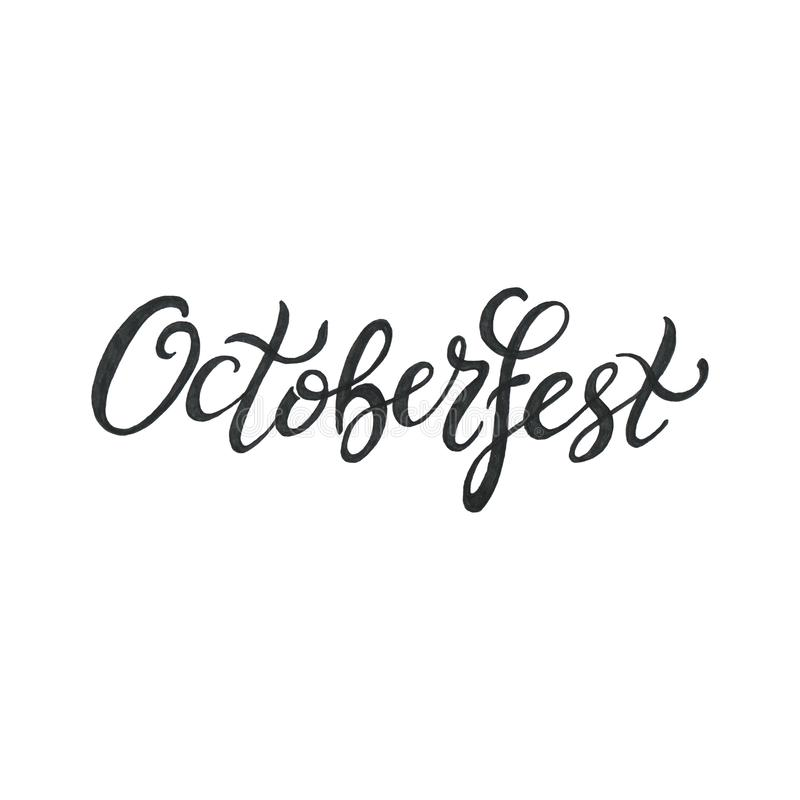 Octoberfest handwritten black ink lettering on white background. Oktoberfest typography design for greeting cards and poster, menu royalty free illustration