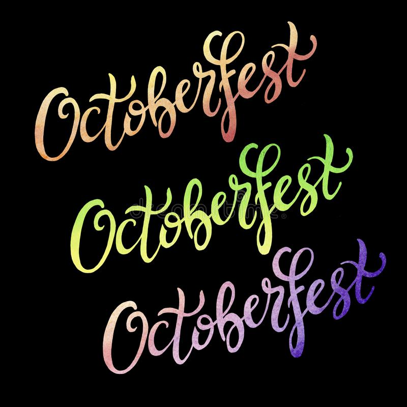 Octoberfest handwritten colorful watercolor lettering on black background. Oktoberfest typography design for greeting cards and poster royalty free illustration