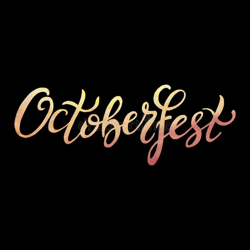 Octoberfest handwritten watercolor lettering on black background. Oktoberfest typography design for greeting cards and poster stock illustration