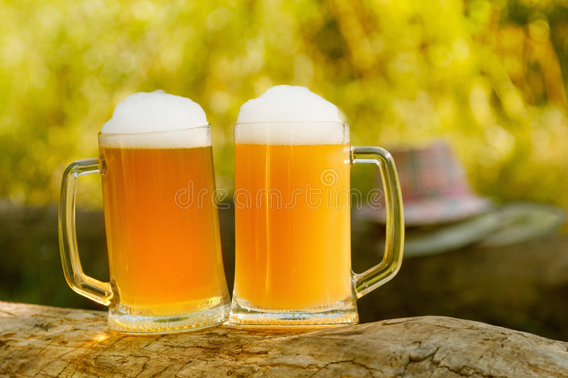 Octoberfest mug beer with food. Octoberfest mug beer with hat on tree background stock images