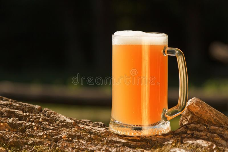 Octoberfest mug beer with food weekend. Octoberfest mug beer with traditional on nature background royalty free stock images