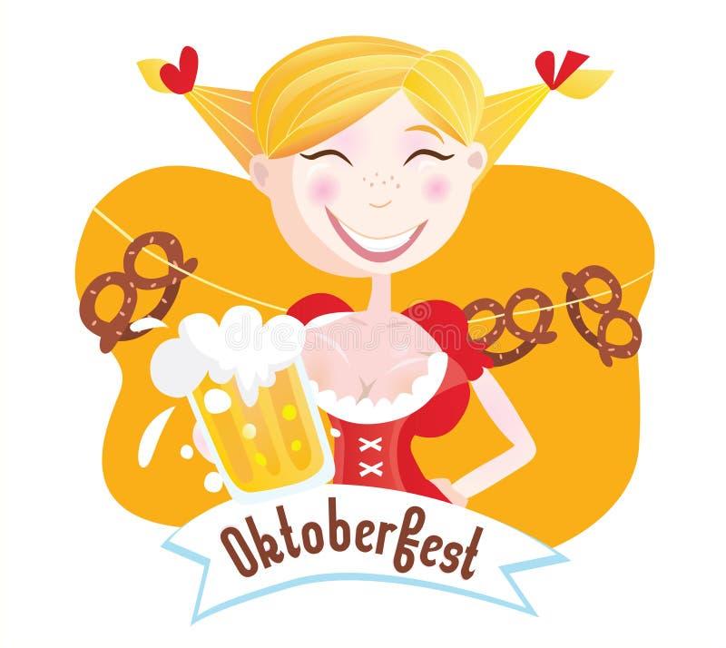Octoberfest (mulher bávara) ilustração do vetor