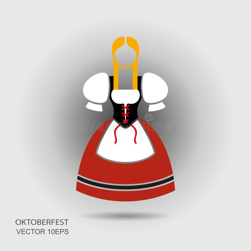 Octoberfest niemiecka dziewczyna w tradycyjnym odziewa ilustracja wektor