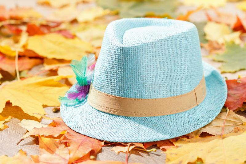 Octoberfest picnic on background with tyrolean hat and autumn yellow leaves. Octoberfest picnic on natural background with tyrolean hat and autumn yellow leaves royalty free stock photos
