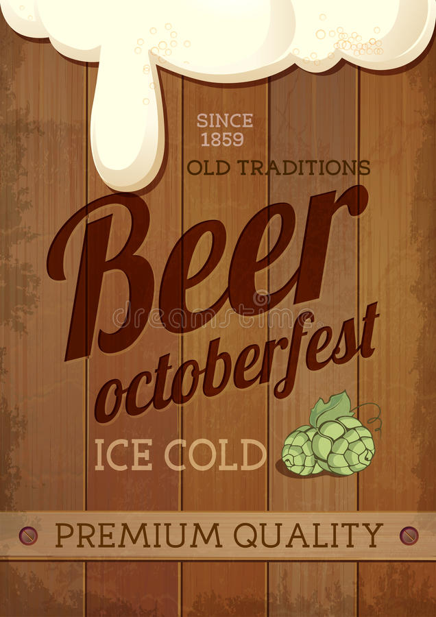 Octoberfest Plakat des Weinlese-Bieres vektor abbildung