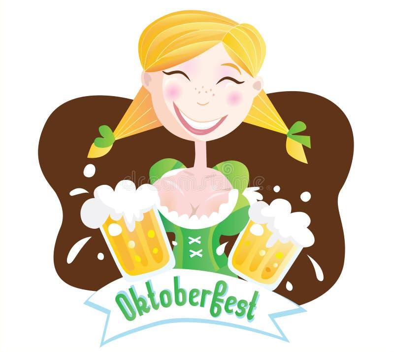 Octoberfest (ragazza bavarese) illustrazione di stock
