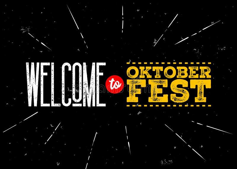 Octoberfest vektoremblem Välkomnande till den Oktoberfest inskriften stock illustrationer