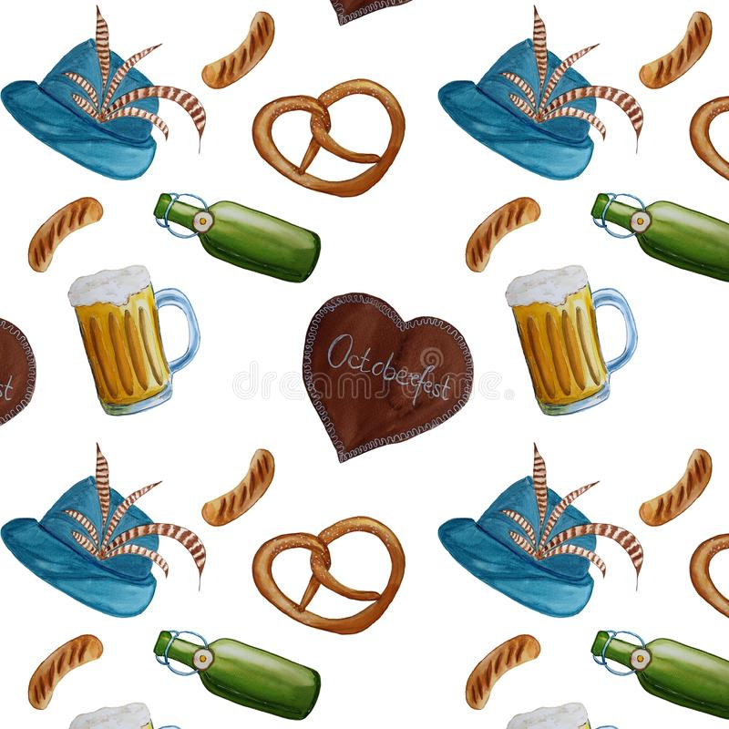 Octoberfest watercolor hand drawn pattern background.  vector illustration