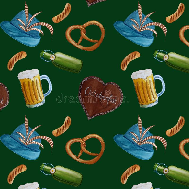 Octoberfest watercolor hand drawn pattern background.  royalty free illustration