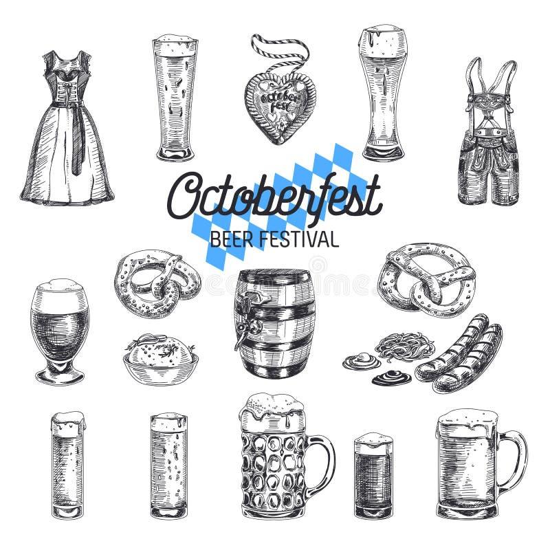 Octoberfest wektoru set Piwni produkty Ilustracje w nakreśleniu s ilustracji