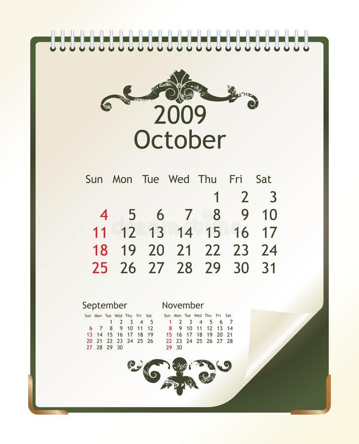 Octobre 2009 illustration stock
