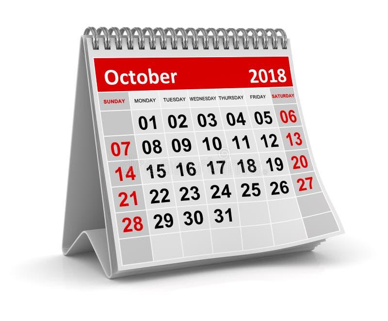 Octobre 2018 - calendrier illustration de vecteur