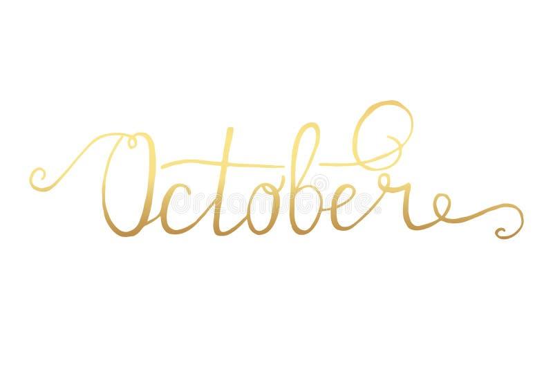 octobre Conception typographique Texte de lettrage de main noire d'isolement sur le fond blanc Pour des affiches de pendaison de  illustration libre de droits