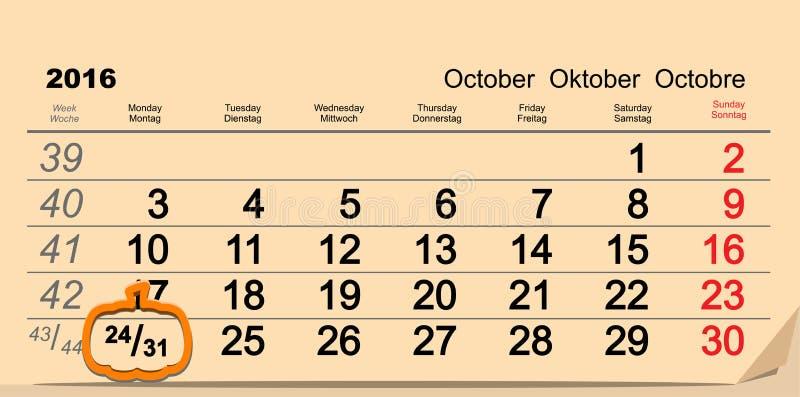 31 octobre 2016 Halloween Date de calendrier mural et de potiron illustration stock