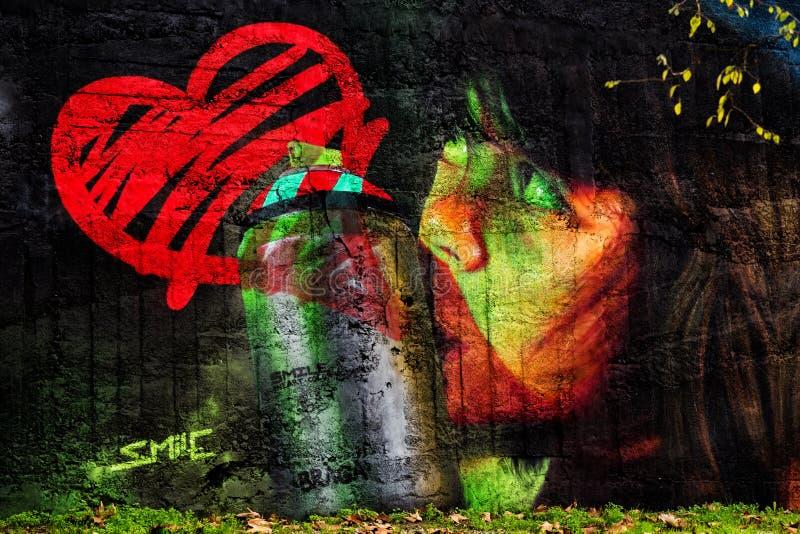 20 octobre 2016 un graffiti a signé par sourire à Braga photos stock