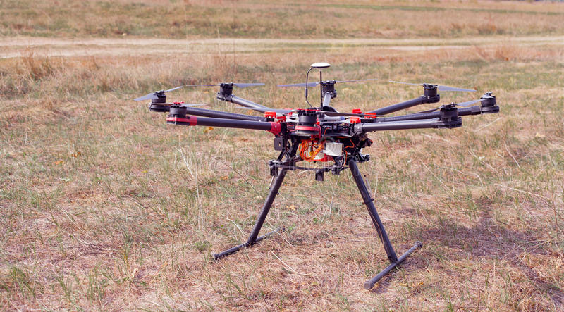 Octocopter,直升机,寄生虫 免版税库存图片
