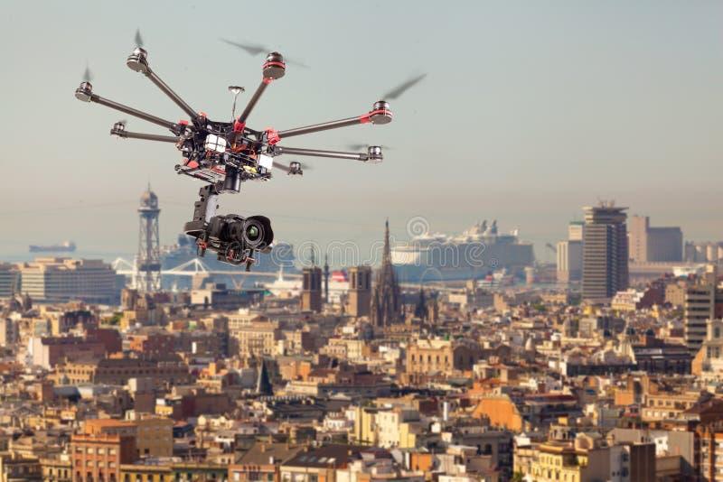 Octocopter,直升机,寄生虫 免版税库存照片