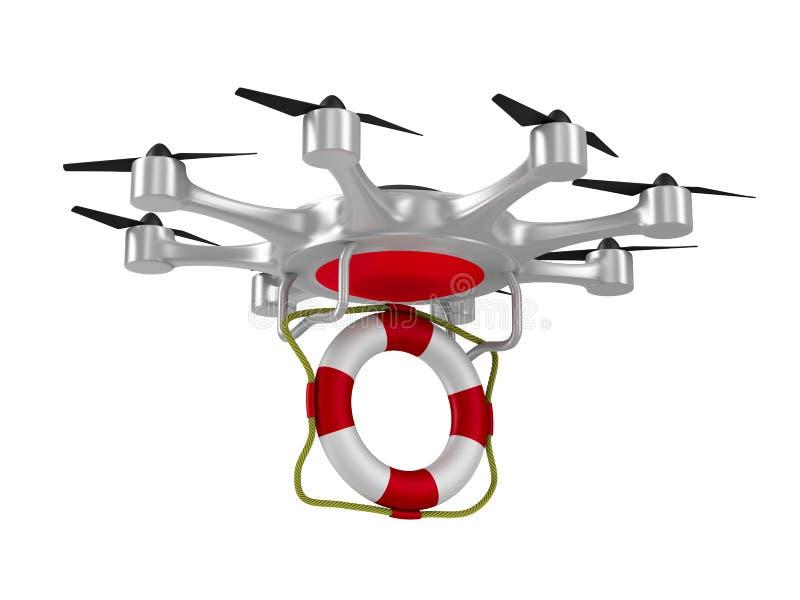 Octocopter con salvavidas en el fondo blanco Illust aislado 3d libre illustration