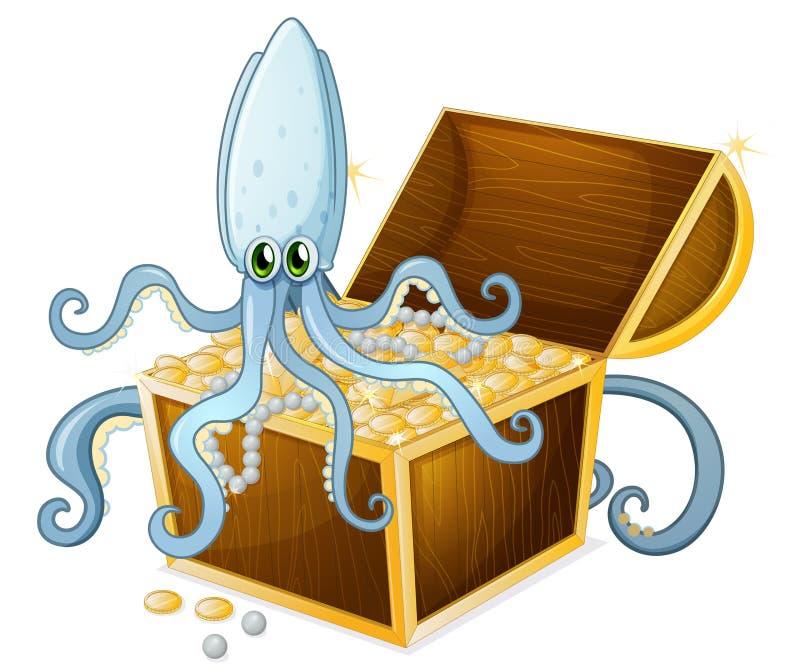 An octopus above the treasure box. Illustration of an octopus above the treasure box on a white background royalty free illustration