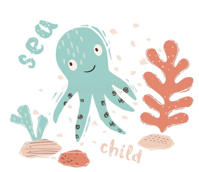 Octopus baby cute print. Sweet marine animal. Sea child - text slogan. stock illustration