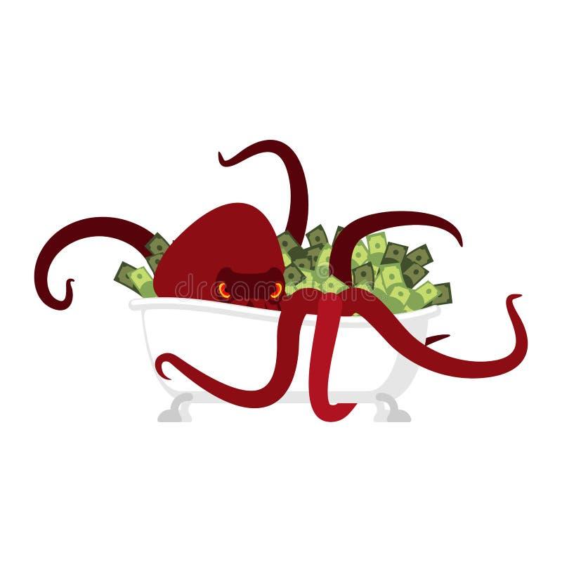 Octopus in bad en geld devilfish beschermt schatcontant geld Vec vector illustratie