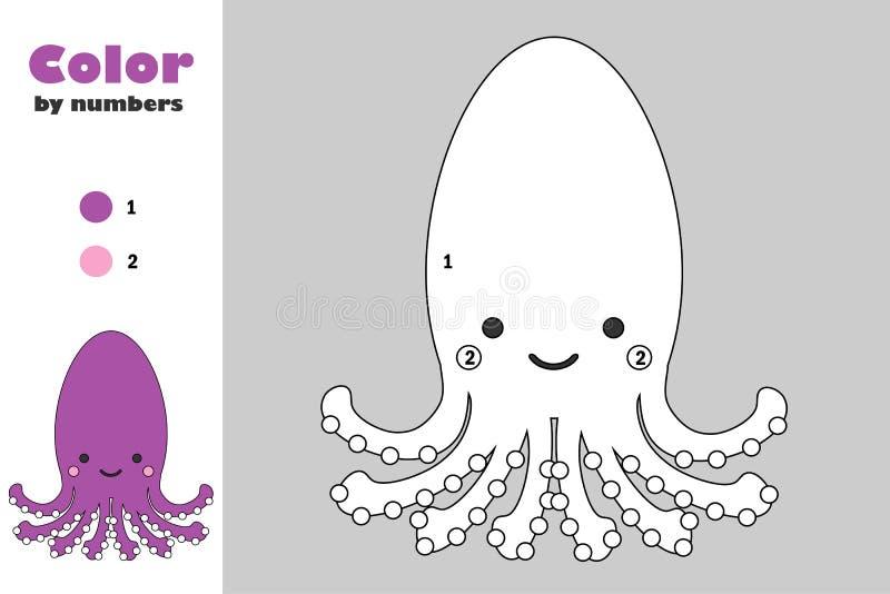 Octopus in beeldverhaalstijl, kleur door aantal, onderwijsdocument spel voor de ontwikkeling van kinderen, kleurende pagina, jong stock illustratie