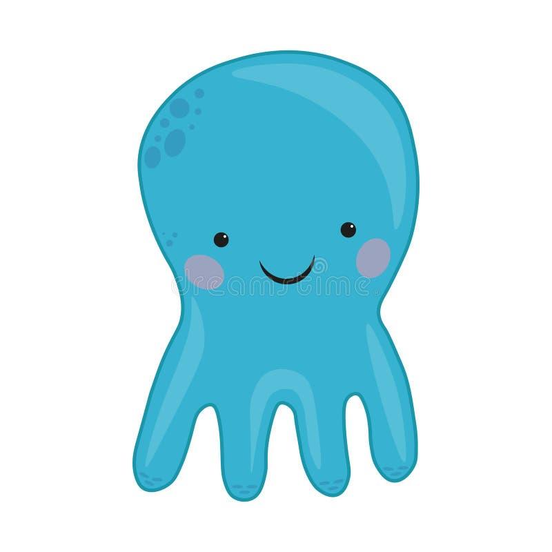 Octopus cartoon vector Illustration. blue cute octopus illustration for kids and babies. Sea creature. marine inhabitant. Marine inhabitant. Octopus cartoon royalty free illustration