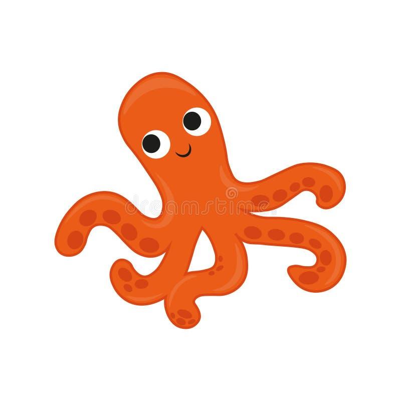 Octopus cartoon vector Illustration. orange cute octopus illustration for kids and babies. Sea creature. marine inhabitant. Marine inhabitant. Octopus cartoon vector illustration