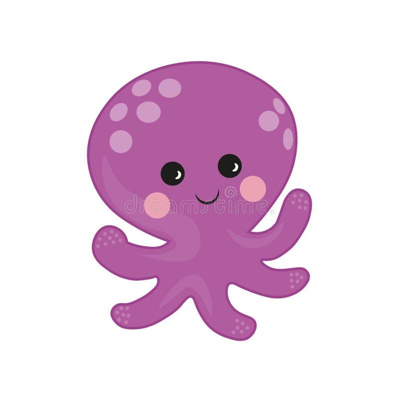 Octopus cartoon vector Illustration. purple cute octopus illustration for kids and babies. Sea creature. marine inhabitant. Marine inhabitant. Octopus cartoon vector illustration