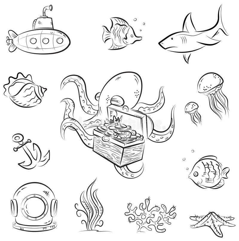 Download Octopus and the chest stock vector. Image of diver, head - 26333085