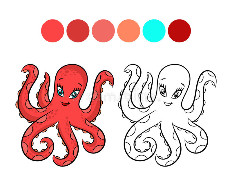 Octopus coloring book. stock vector. Illustration of children - 98090820