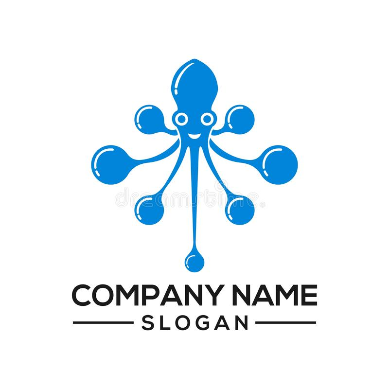 Octopus concept combined with a network connection becomes a logo icon for networking technology stock illustration