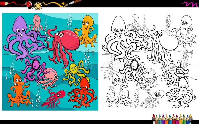 Octopus dierlijke karakters die boek kleuren stock illustratie
