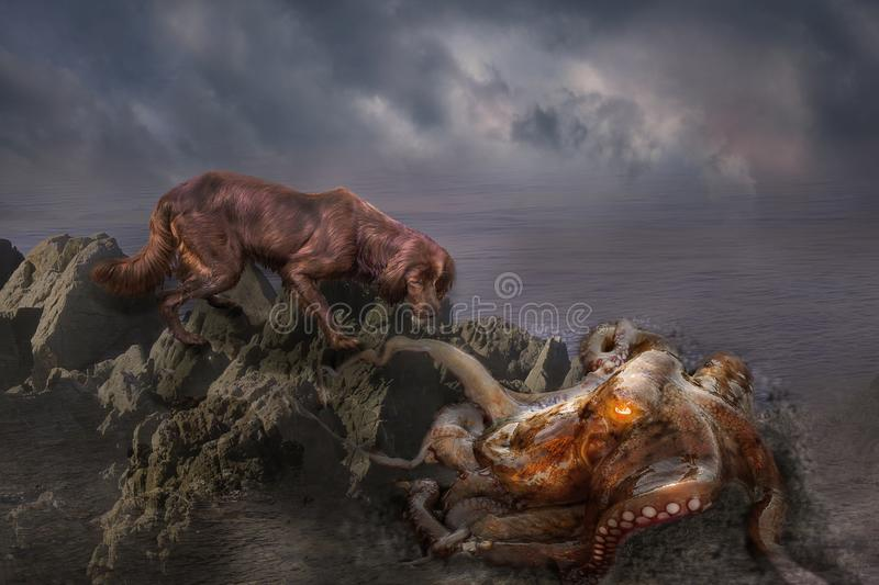 An octopus is eating a dog.manipulation photo of dog and otupus in the sea, fantasy royalty free stock image