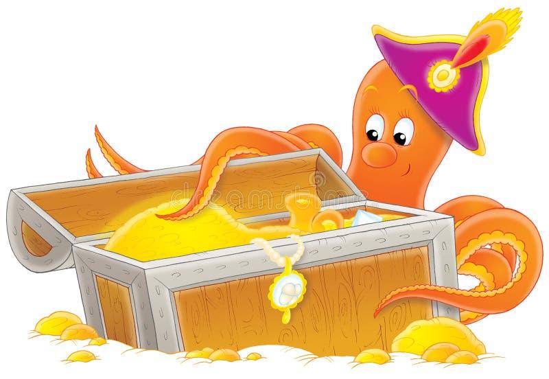Octopus en schat stock illustratie