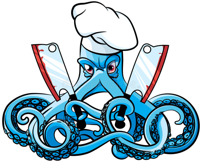 Octopus Gekke Cook royalty-vrije illustratie