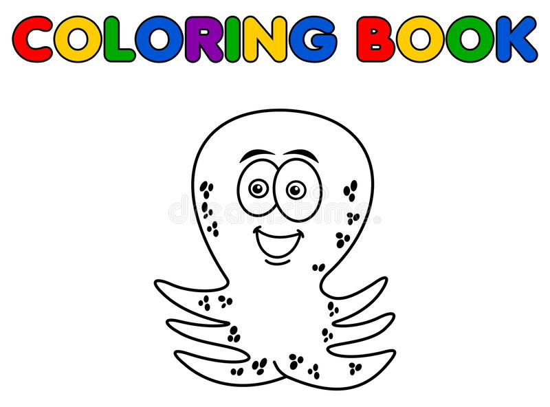 Octopus het vrolijke betekenen het kleuren vector illustratie
