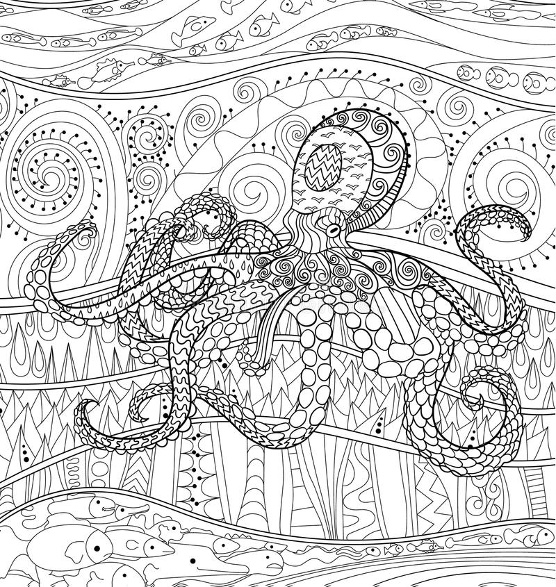 Octopus with high details. stock vector. Illustration of isolated ...